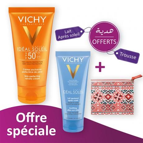 Vichy ideal soleil Crème onctueuse perfectrice de peau SPF 50+ prix maroc - parapharmacie en ligne maroc ( offre spécial  )