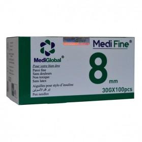 MEDIGLOBAL MEDI FINE 8 MM 30 G - 100 PCS PRIX MAROC